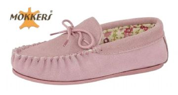 Ladies Real Suede Leather Moccasin with Hard-wearing Sole  PINK